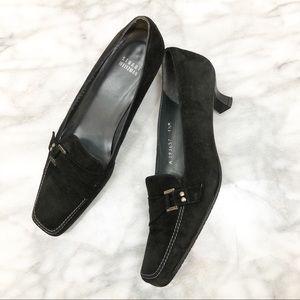 Stuart Weitzman black suede low heel loafer sz 7.5